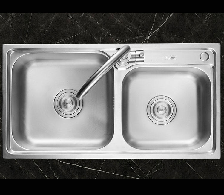 Double Bowl Brushed Finish Kitchen Sink with Basket - LS7240
