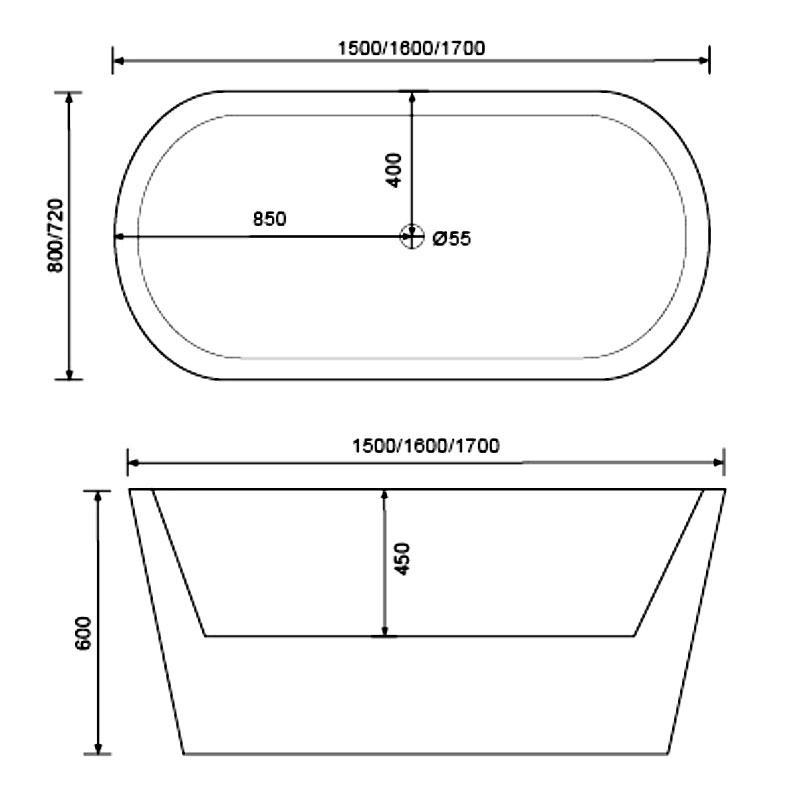 Acrylic modern bathtub for house - QT-002