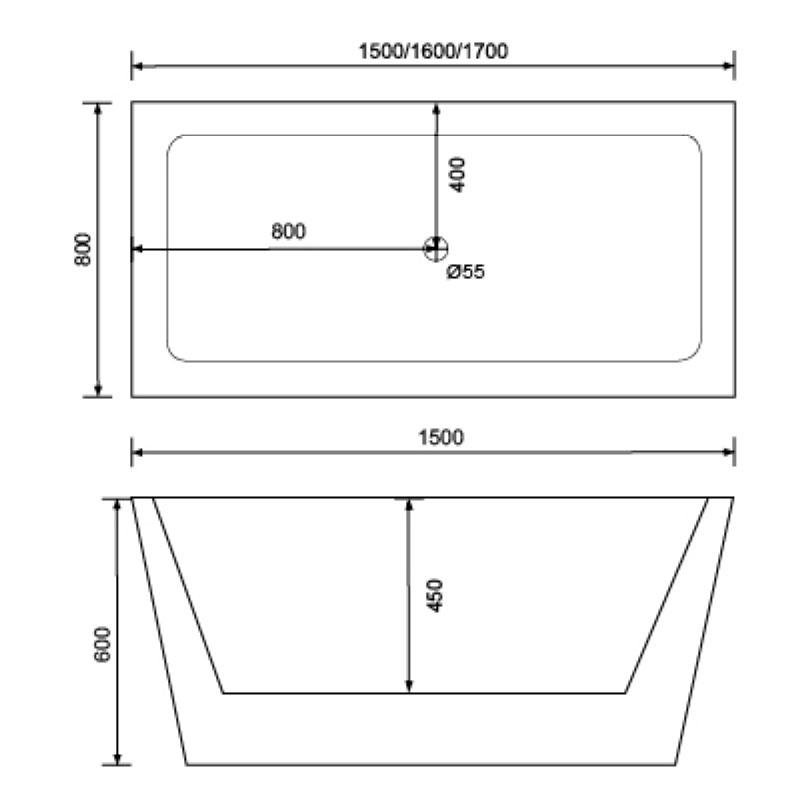 Square freestanding bathtub hotel combo QT-043