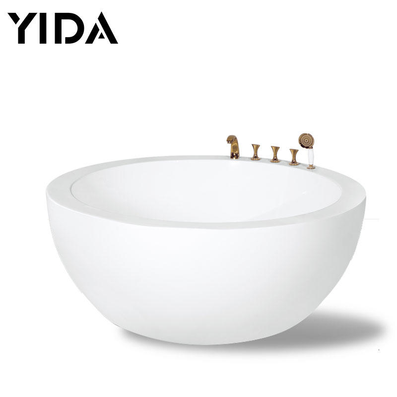 Round bathtub white color with faucet shower - QT-058