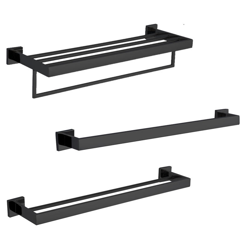 Brass Black Plated Bathroom Accessory Set for Hotel / Construction / Home - 722