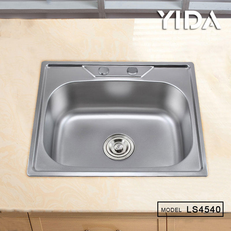 SUS 201 Stainless Steel Stretch Single Bowl Sink with two faucet hole - LS4540